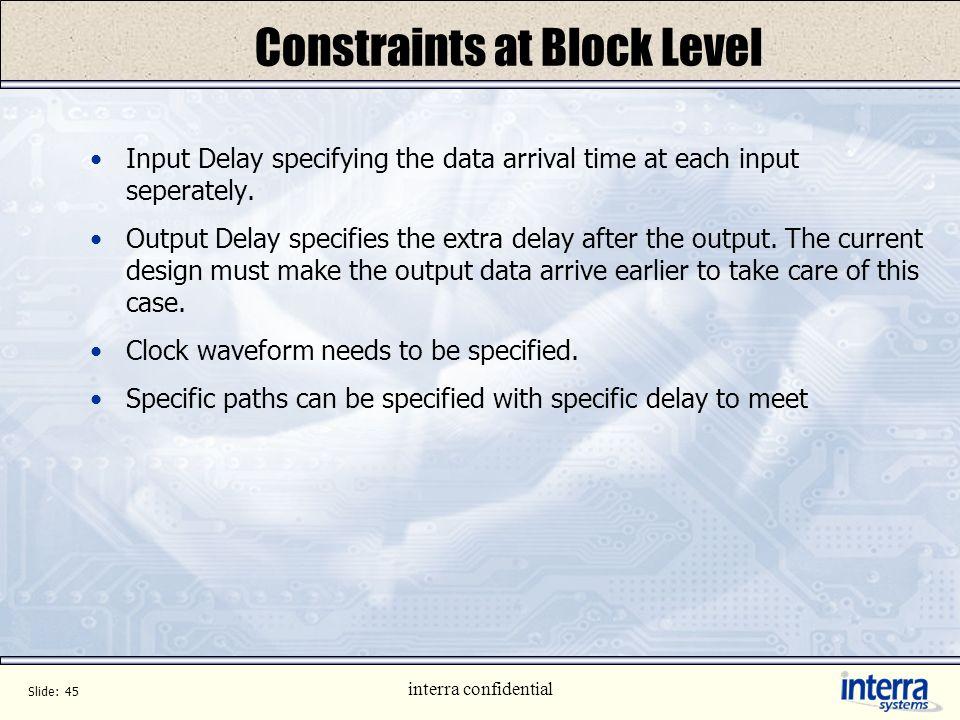 Constraints at Block Level