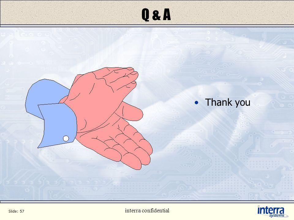 Q & A Thank you interra confidential