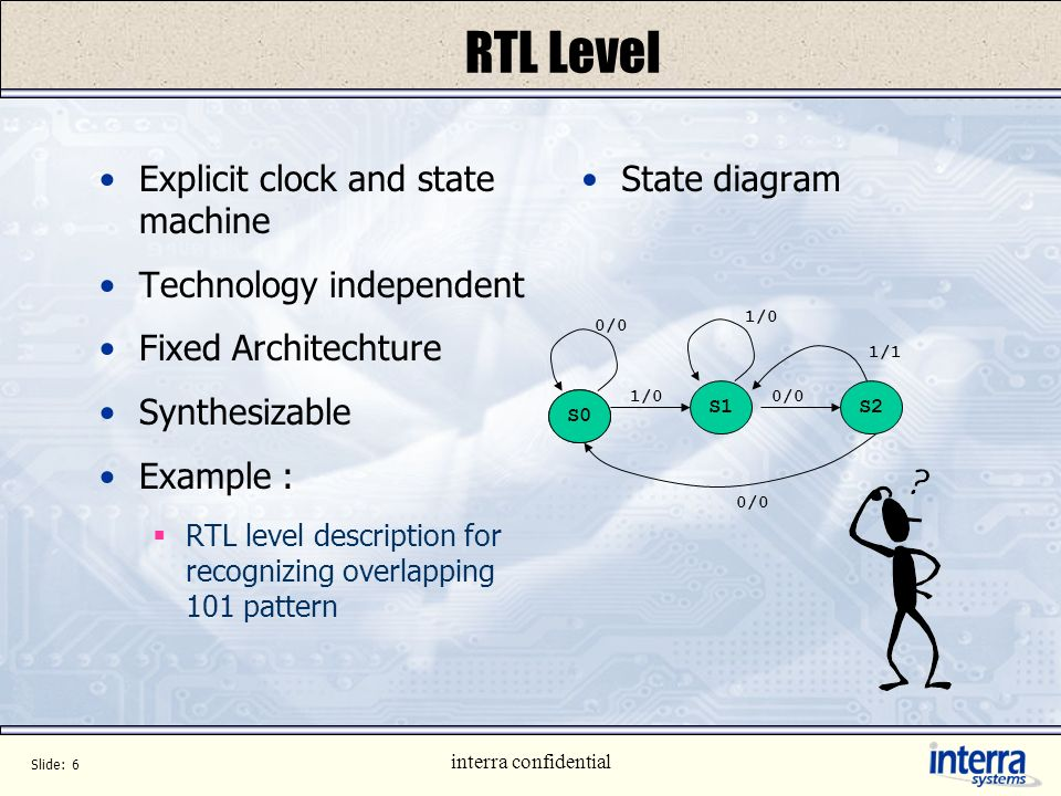 RTL Level Explicit clock and state machine Technology independent