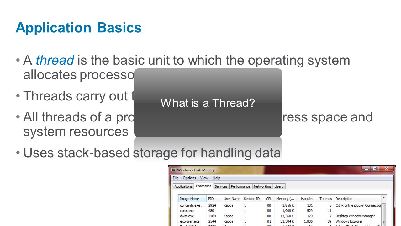 Application Basics A thread is the basic unit to which the operating system allocates processor time.