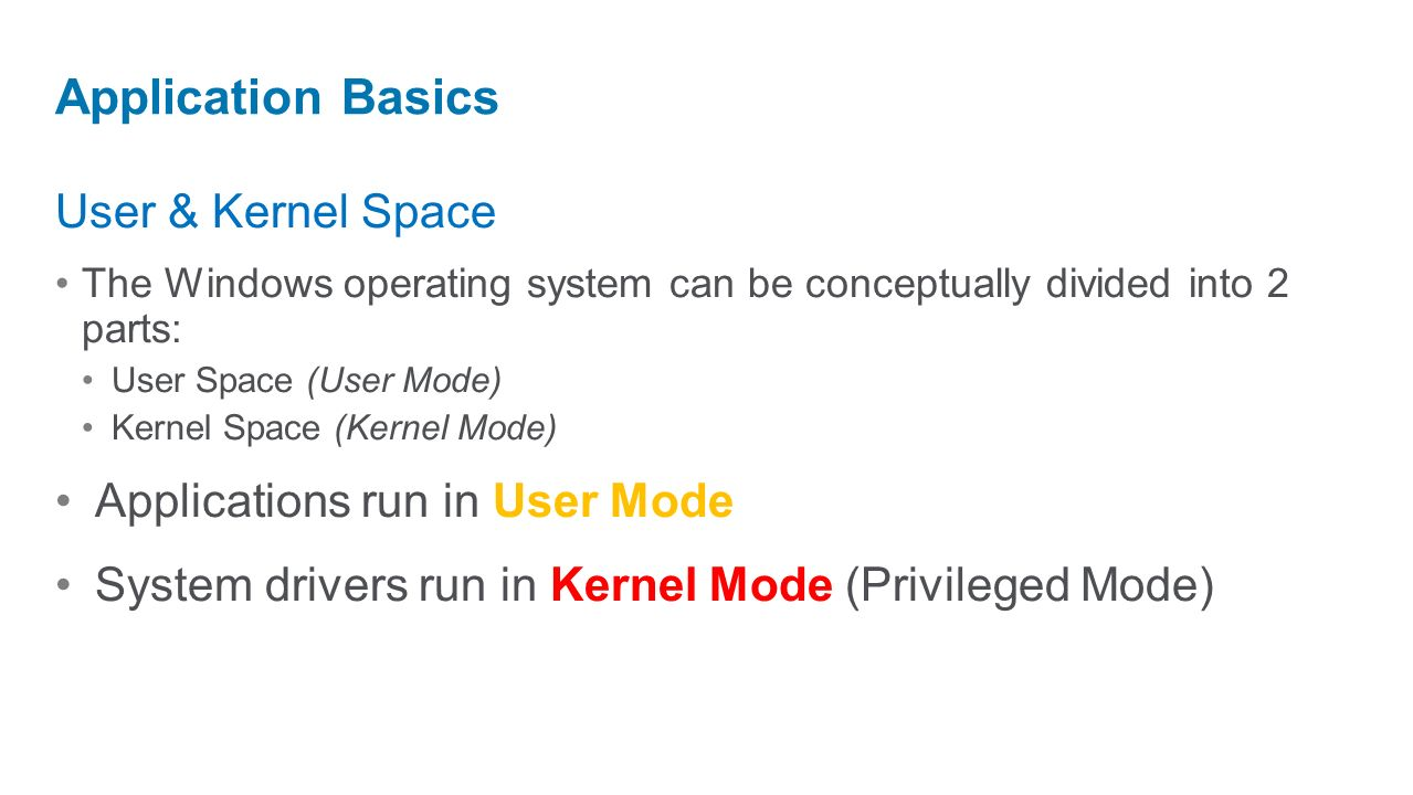 Application Basics User & Kernel Space Applications run in User Mode