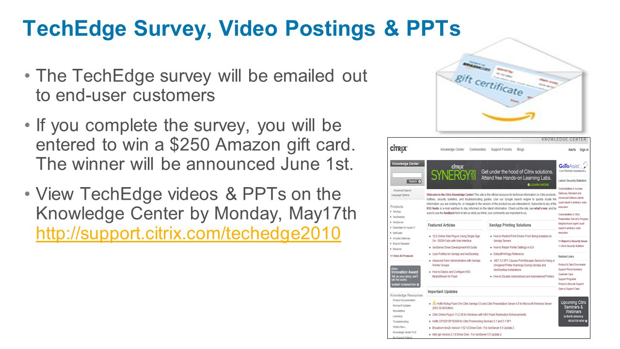 TechEdge Survey, Video Postings & PPTs