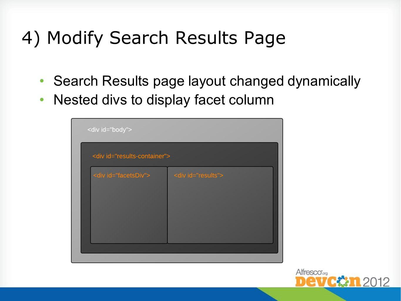 4) Modify Search Results Page