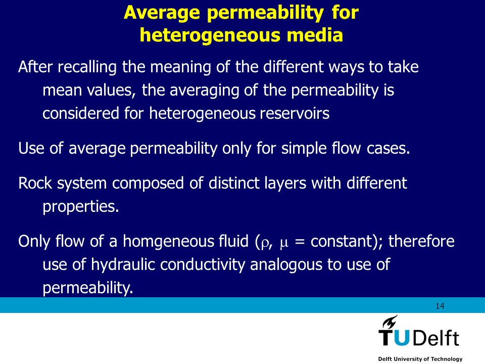 Average permeability for heterogeneous media