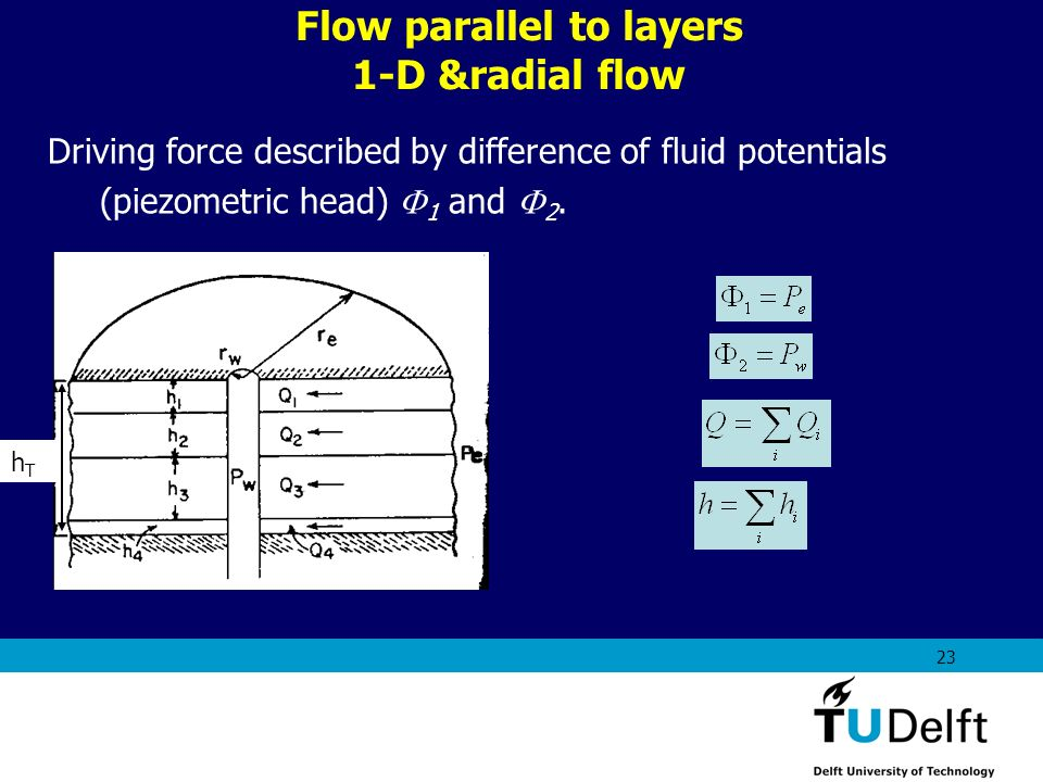 Flow parallel to layers 1-D &radial flow