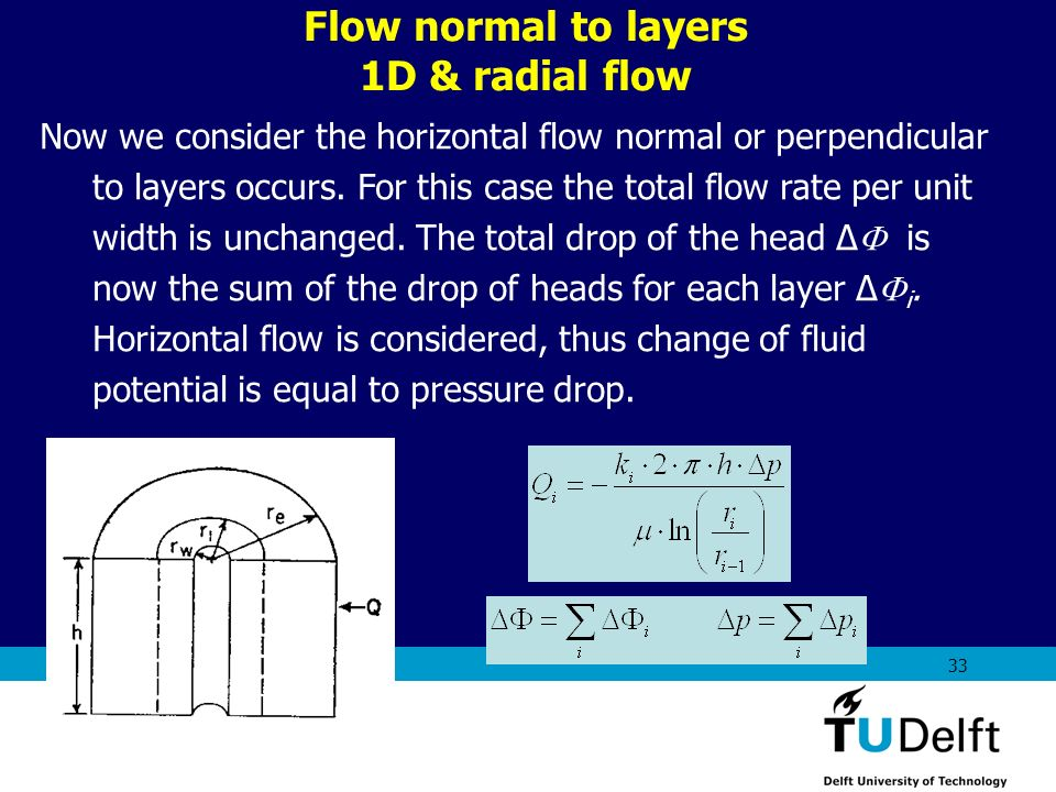 Flow normal to layers 1D & radial flow