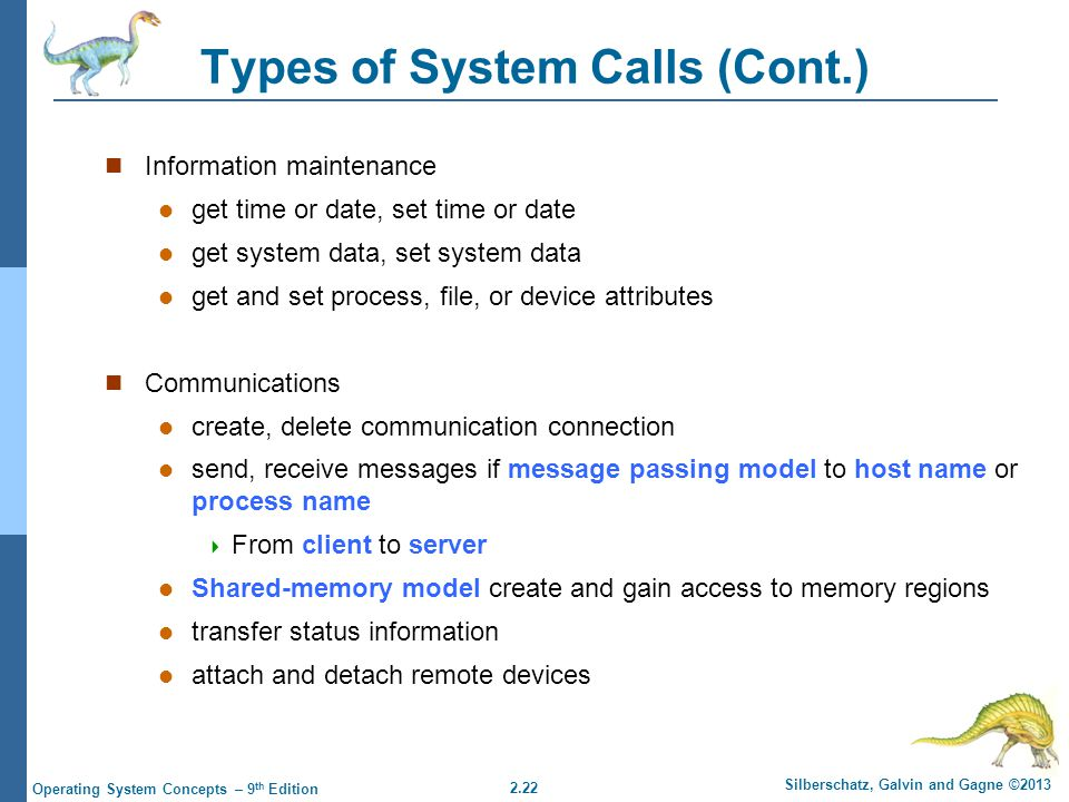 Types of System Calls (Cont.)