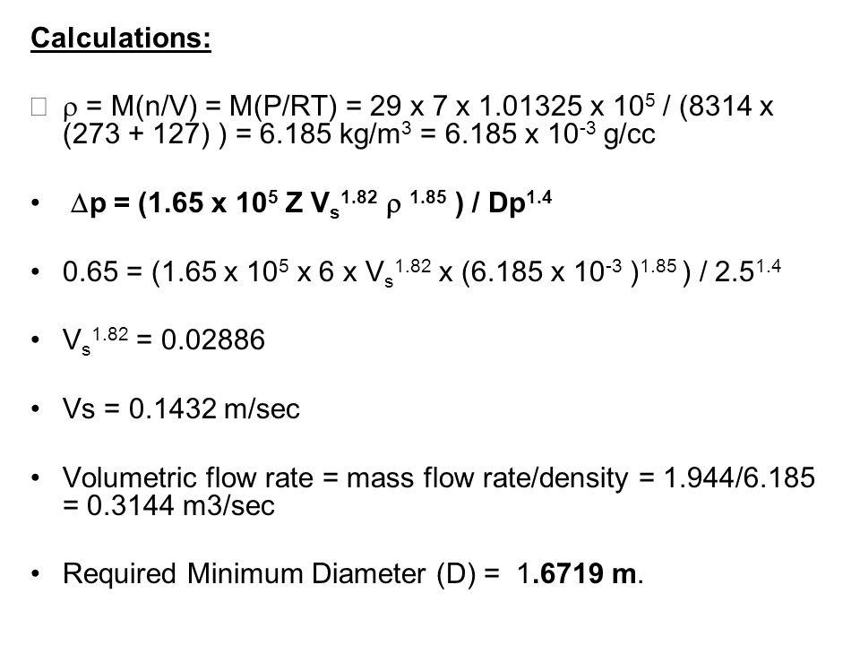 Calculations:r = M(n/V) = M(P/RT) = 29 x 7 x 1.01325 x 105 / (8314 x (273 + 127) ) = 6.185 kg/m3 = 6.185 x 10-3 g/cc.