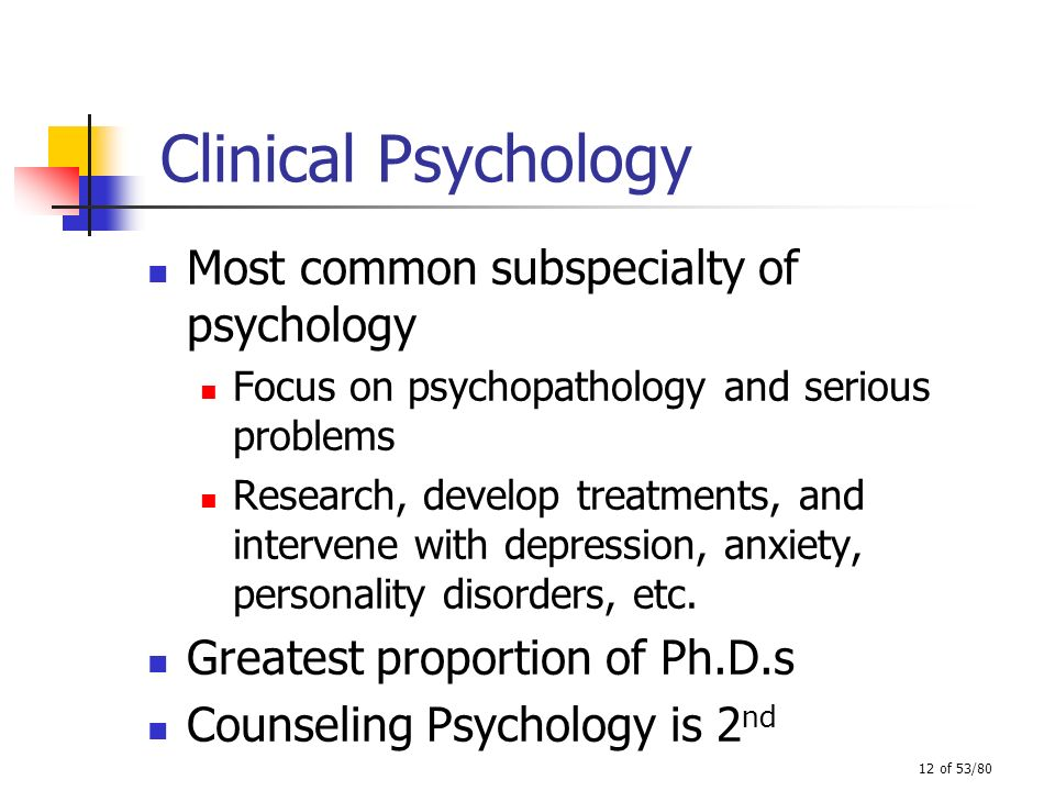 Clinical Psychology Most common subspecialty of psychology