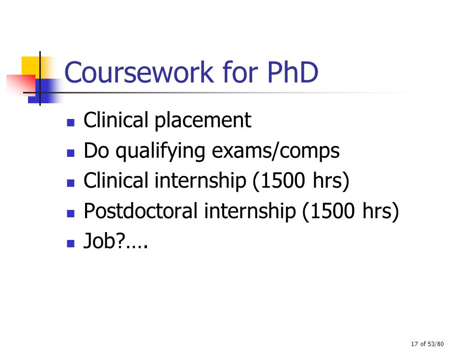 Coursework for PhD Clinical placement Do qualifying exams/comps