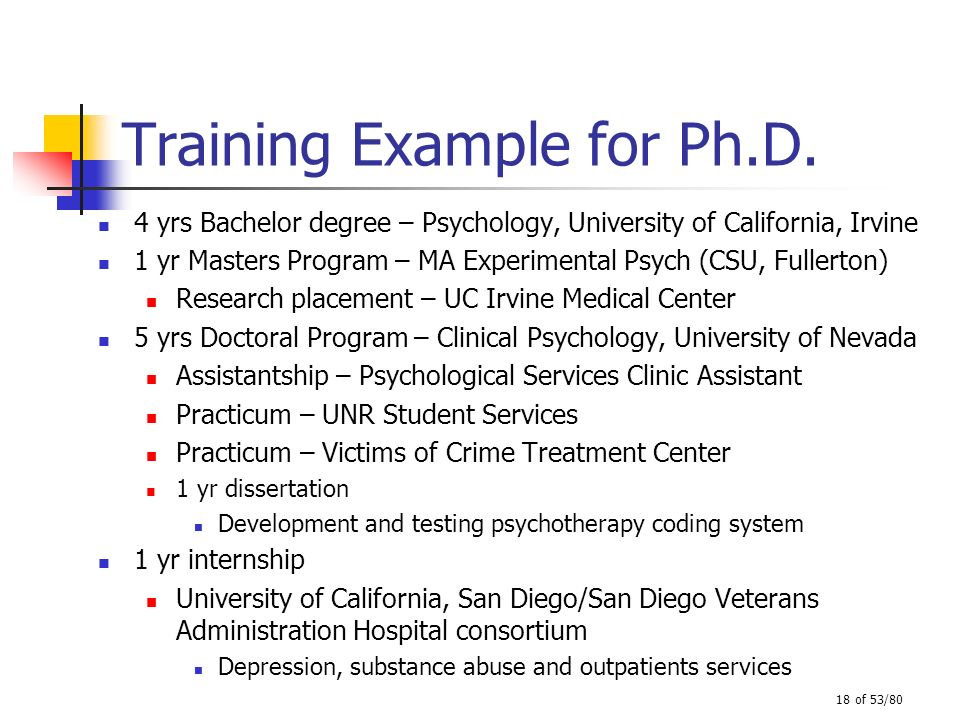 Training Example for Ph.D.