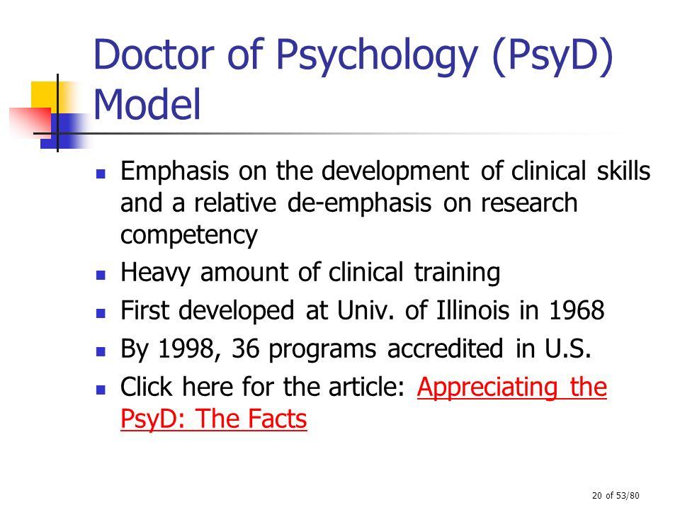 Doctor of Psychology (PsyD) Model