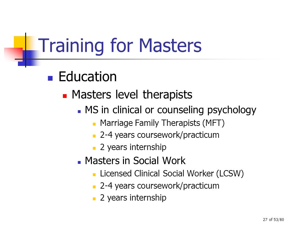 Training for Masters Education Masters level therapists