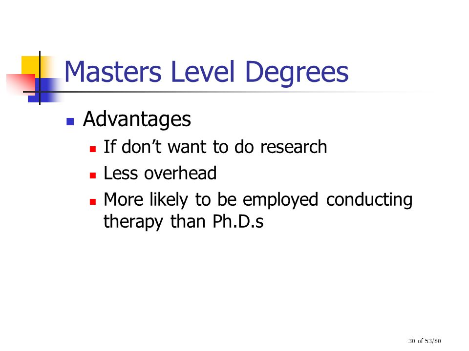 Masters Level Degrees Advantages If don't want to do research
