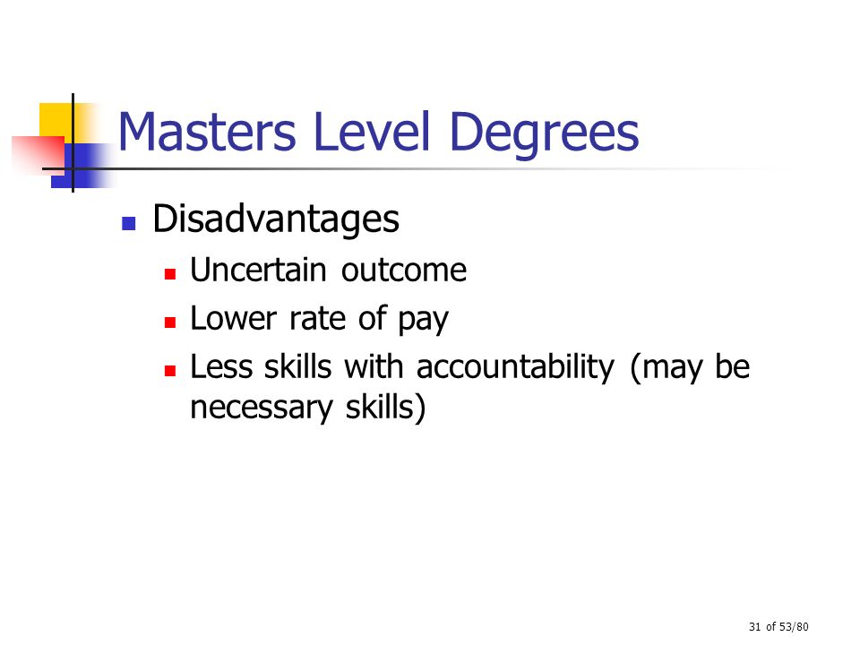 Masters Level Degrees Disadvantages Uncertain outcome