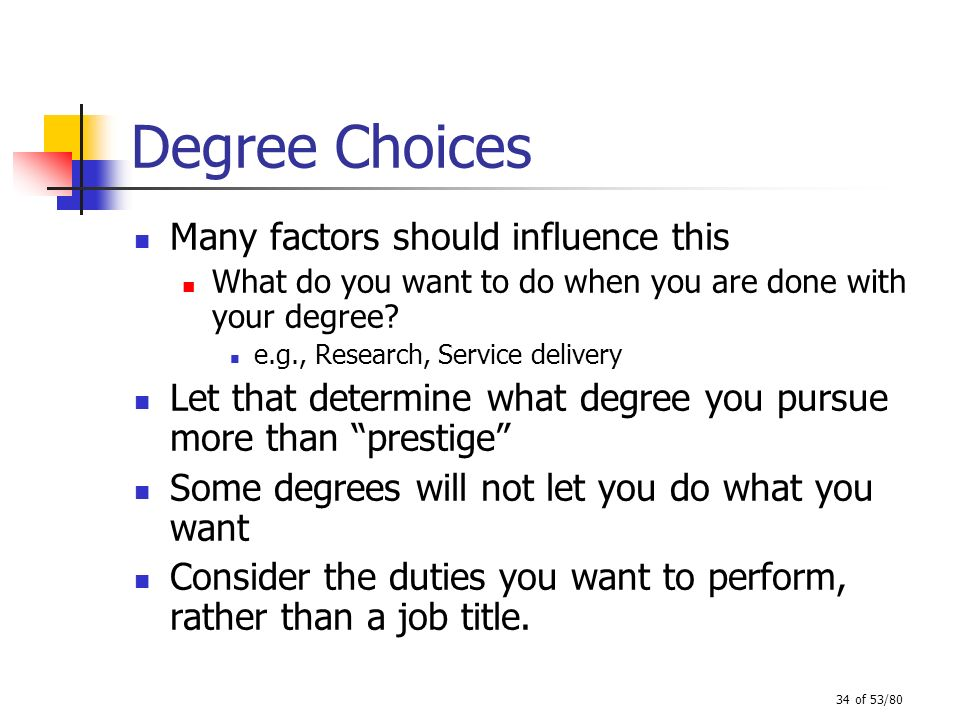 Degree Choices Many factors should influence this