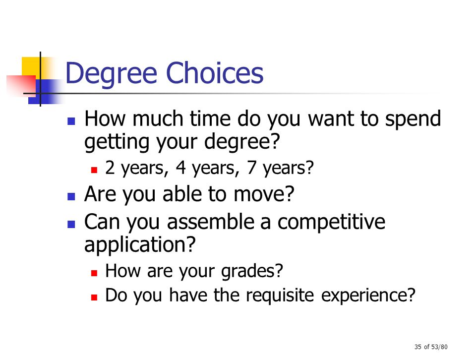 Degree Choices How much time do you want to spend getting your degree