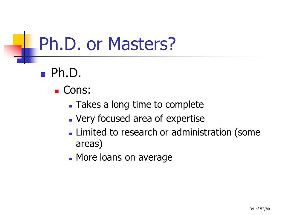 Ph.D. or Masters Ph.D. Cons: Takes a long time to complete