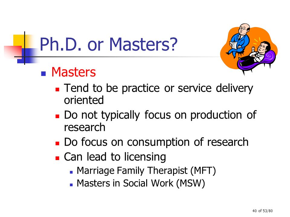 Ph.D. or Masters Masters. Tend to be practice or service delivery oriented. Do not typically focus on production of research.