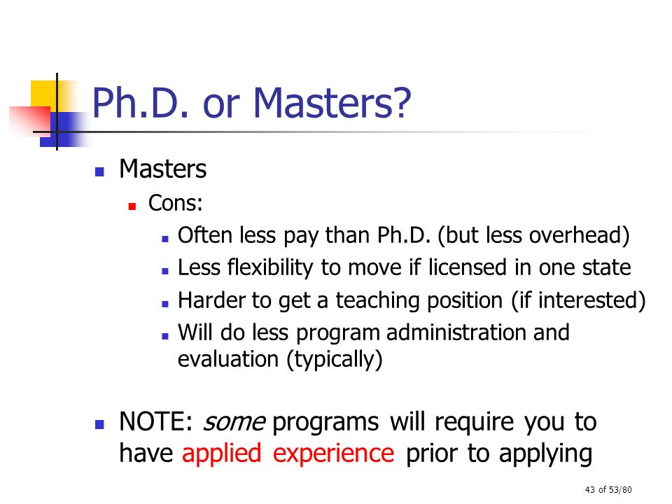 Ph.D. or Masters Masters. Cons: Often less pay than Ph.D. (but less overhead) Less flexibility to move if licensed in one state.