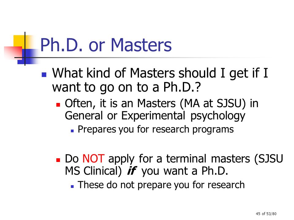 Ph.D. or Masters What kind of Masters should I get if I want to go on to a Ph.D.