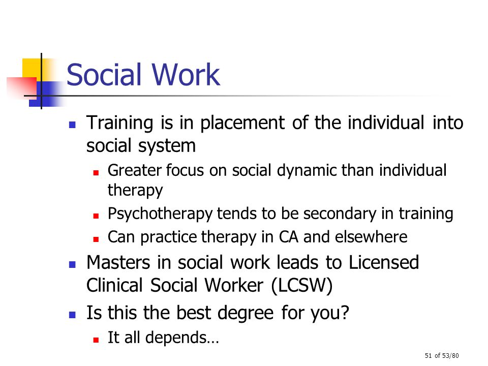 Social Work Training is in placement of the individual into social system. Greater focus on social dynamic than individual therapy.