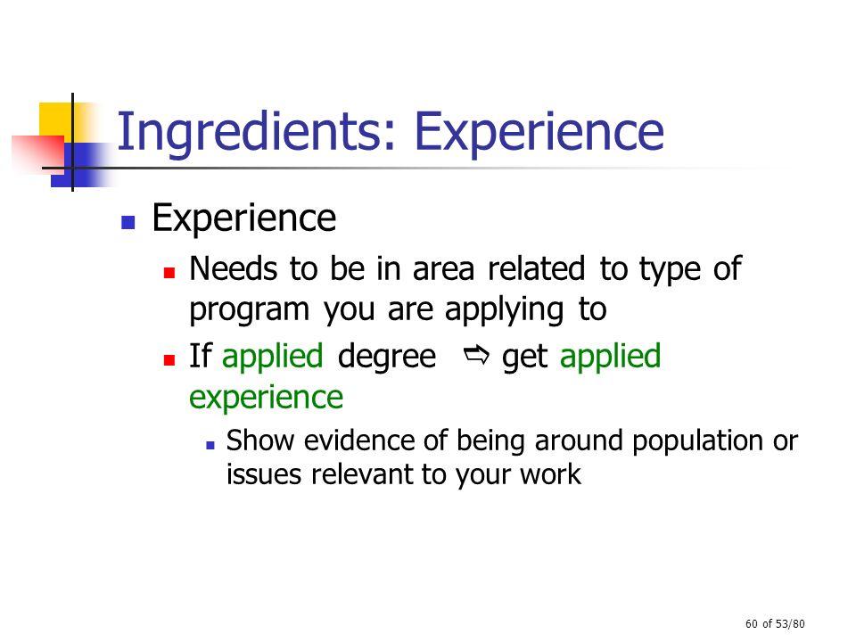 Ingredients: Experience