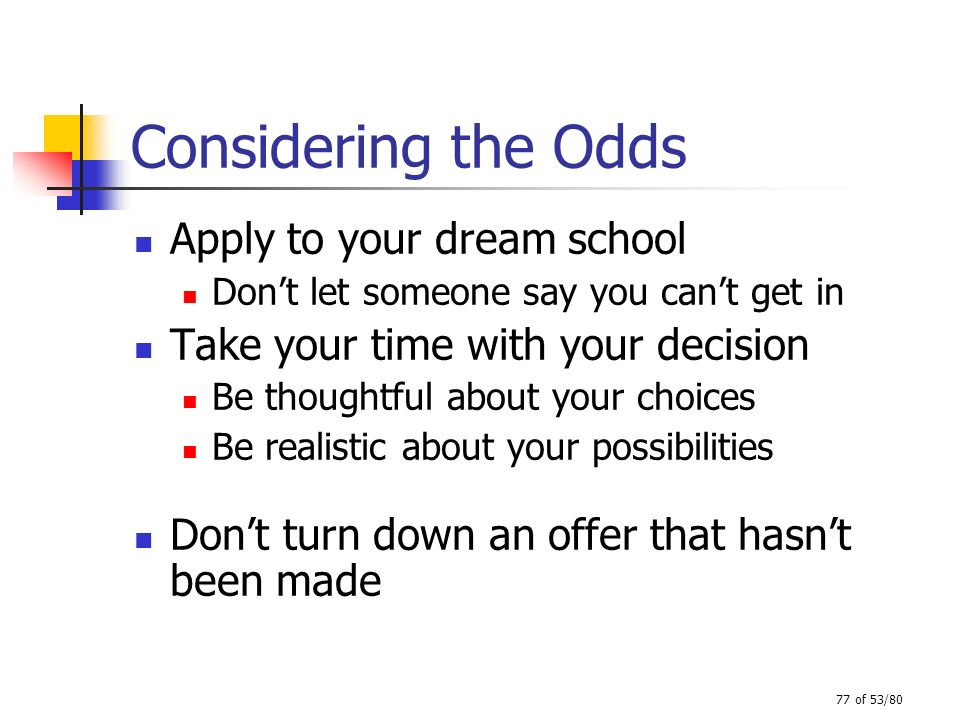 Considering the Odds Apply to your dream school