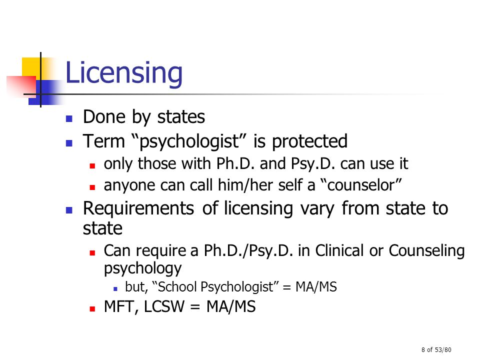 Licensing Done by states Term psychologist is protected