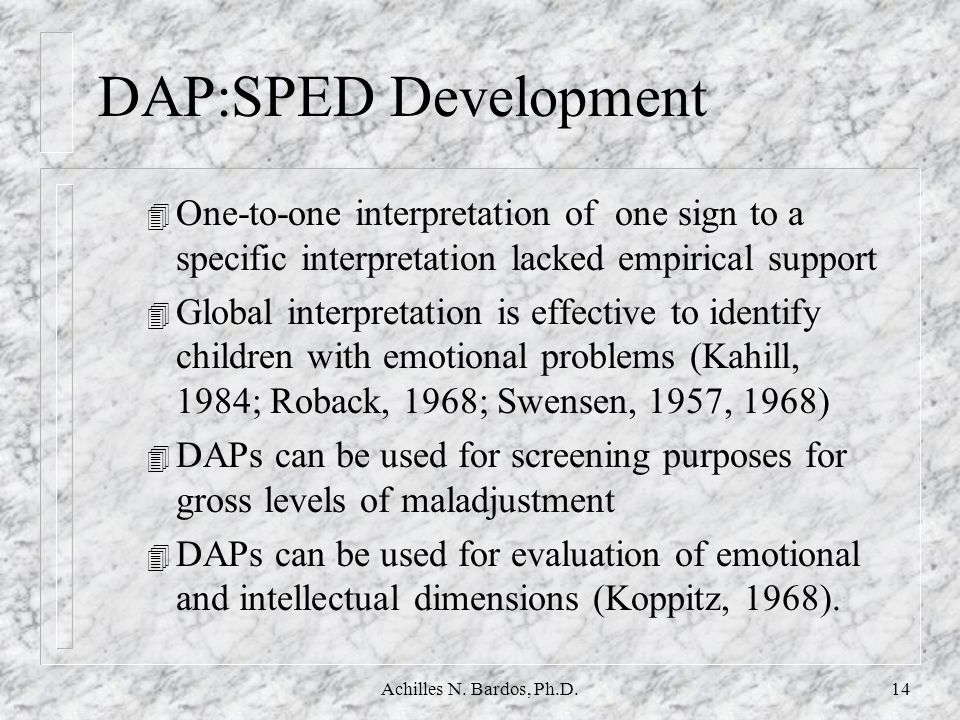 DAP:SPED Development One-to-one interpretation of one sign to a specific interpretation lacked empirical support.