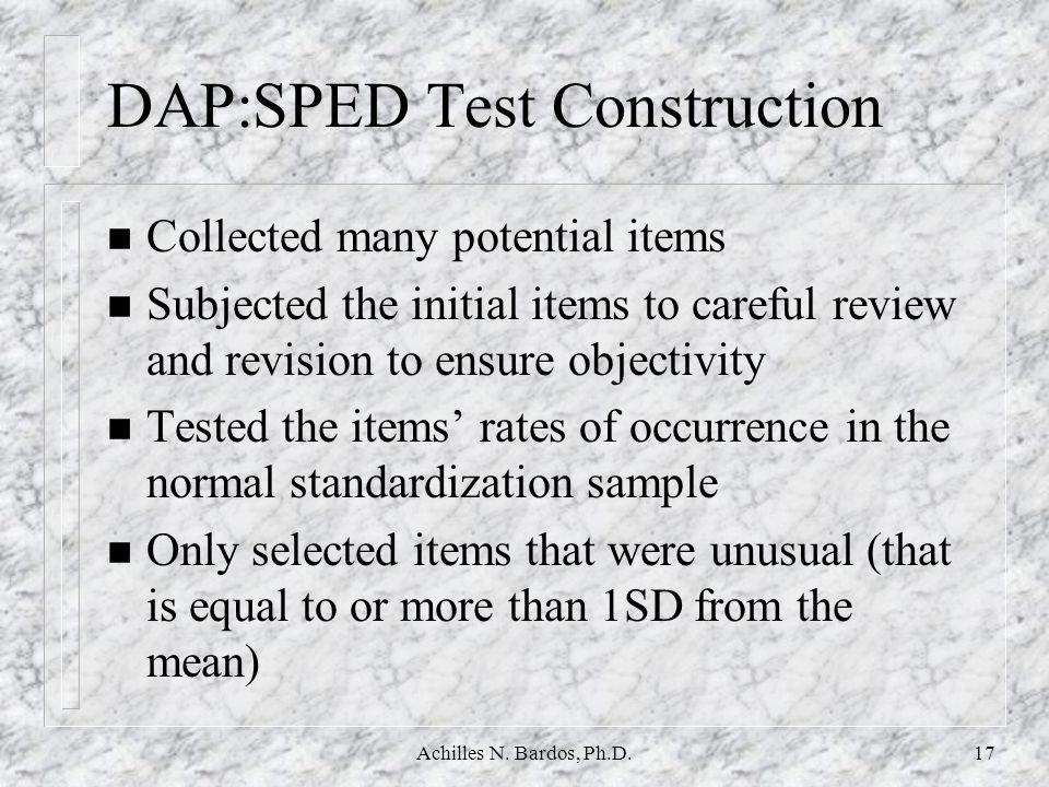 DAP:SPED Test Construction