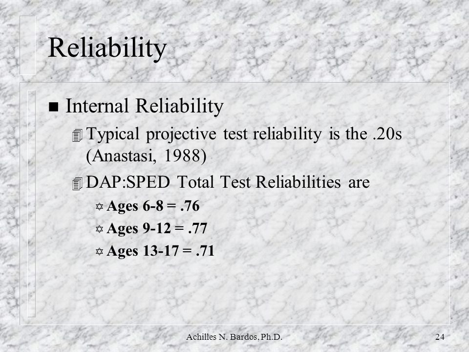Reliability Internal Reliability