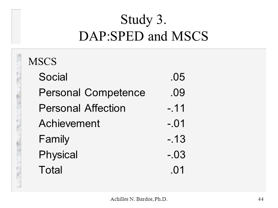 Study 3. DAP:SPED and MSCS