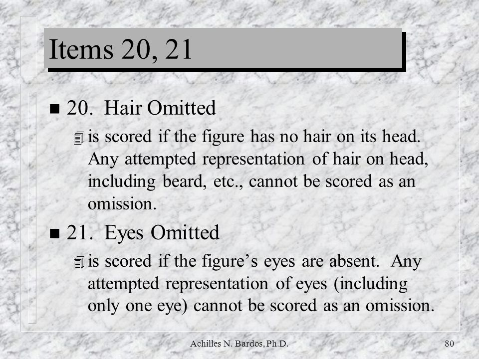 Items 20, 21 20. Hair Omitted 21. Eyes Omitted