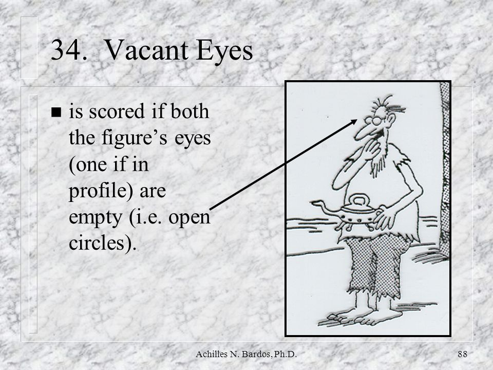 34. Vacant Eyes is scored if both the figure's eyes (one if in profile) are empty (i.e. open circles).