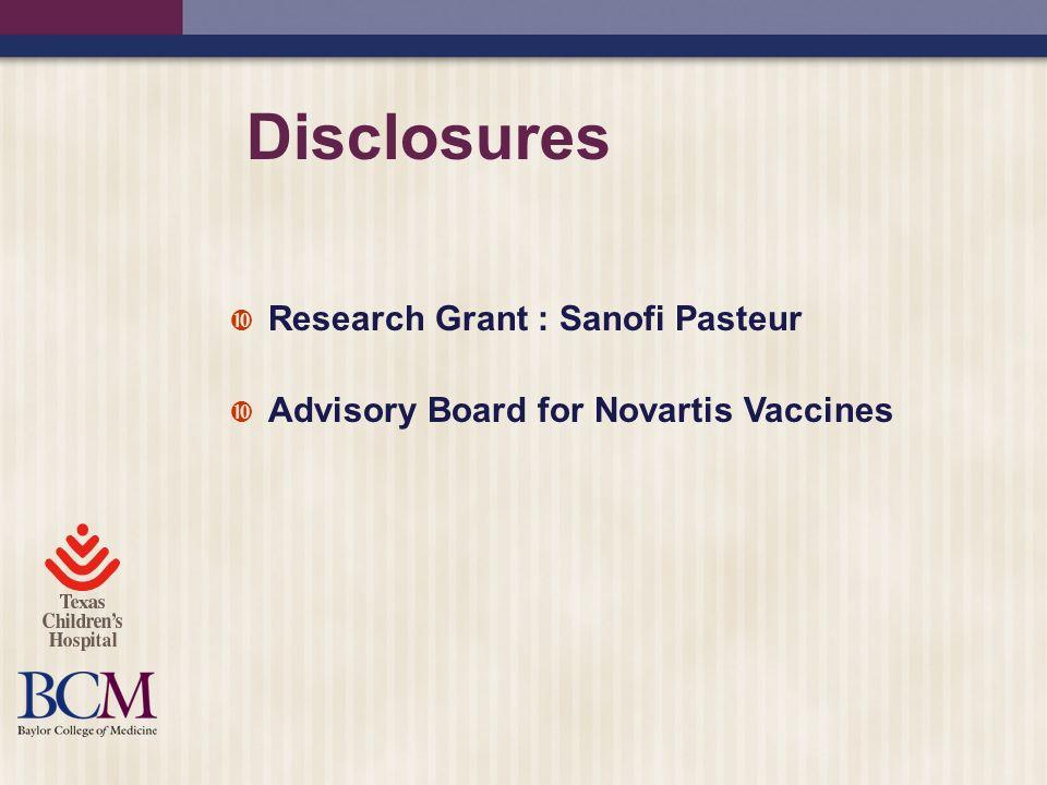 Disclosures Research Grant : Sanofi Pasteur