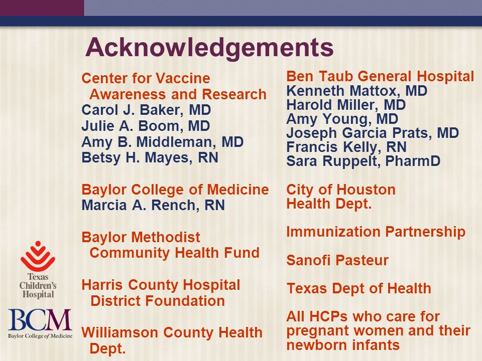 Acknowledgements Center for Vaccine