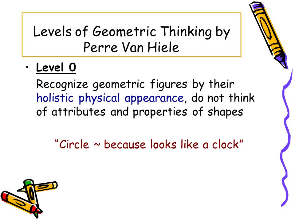 Levels of Geometric Thinking by Perre Van Hiele