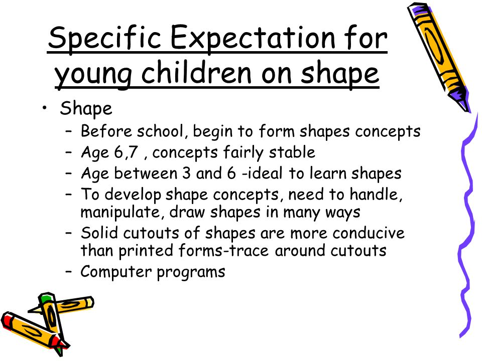 Specific Expectation for young children on shape