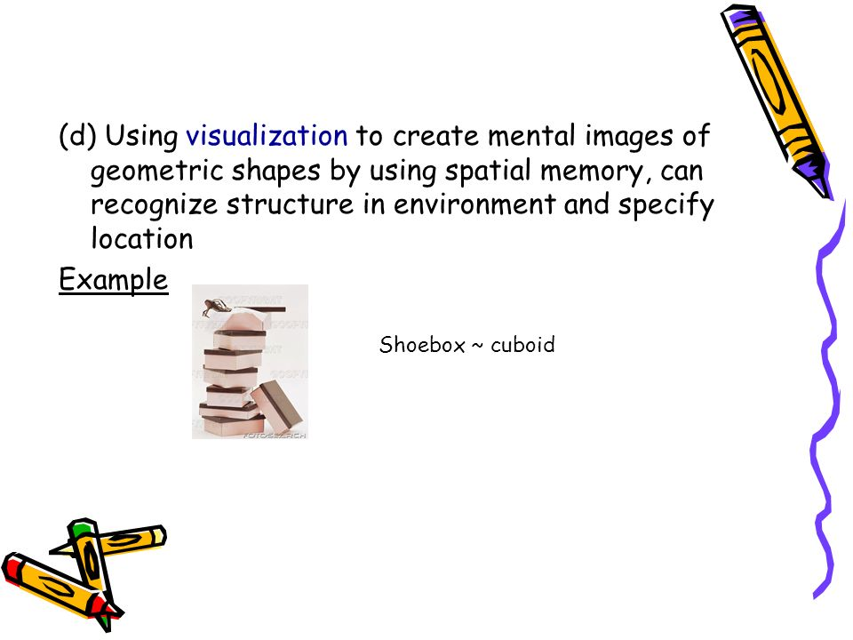 (d) Using visualization to create mental images of geometric shapes by using spatial memory, can recognize structure in environment and specify location