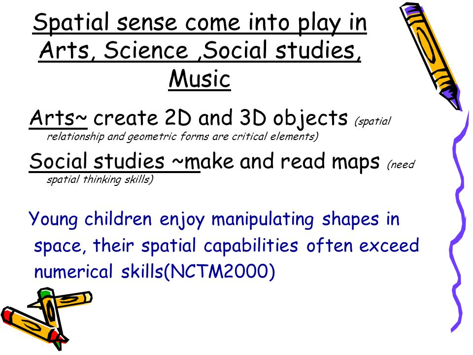 Spatial sense come into play in Arts, Science ,Social studies, Music