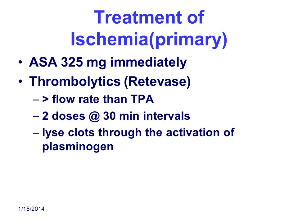 Treatment of Ischemia(primary)