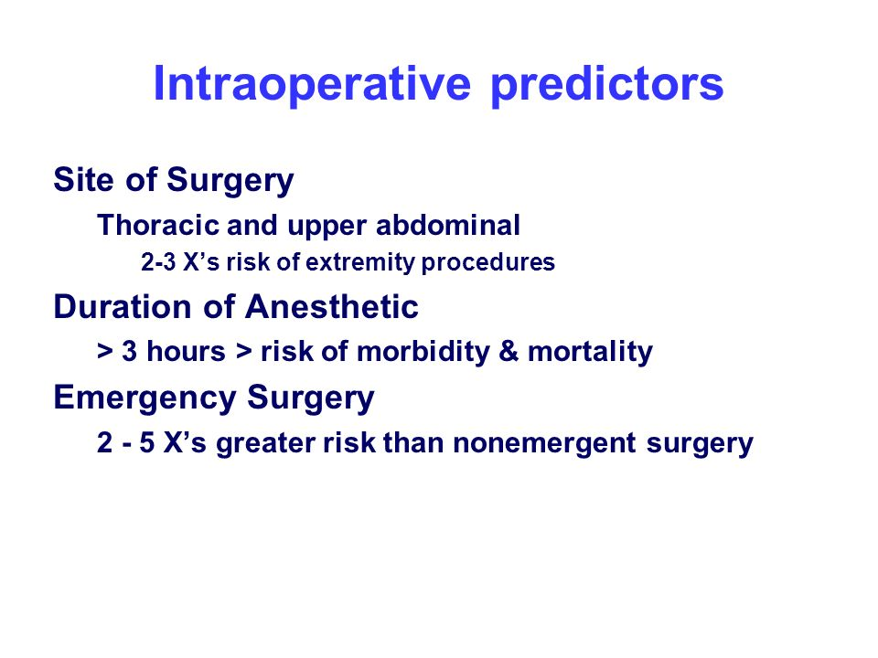 Intraoperative predictors
