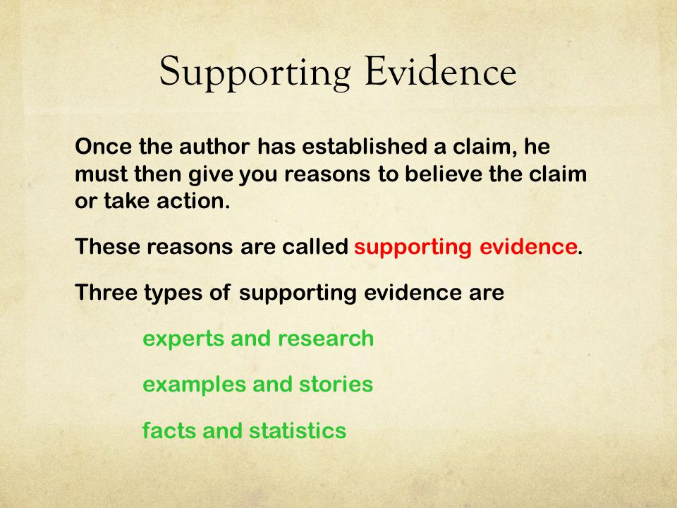 Supporting Evidence