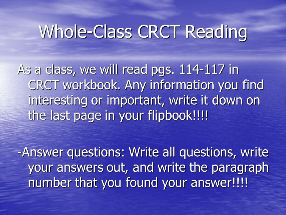 Whole-Class CRCT Reading