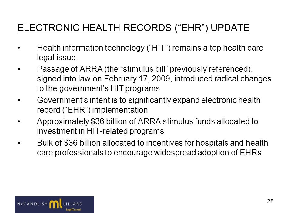 ELECTRONIC HEALTH RECORDS ( EHR ) UPDATE