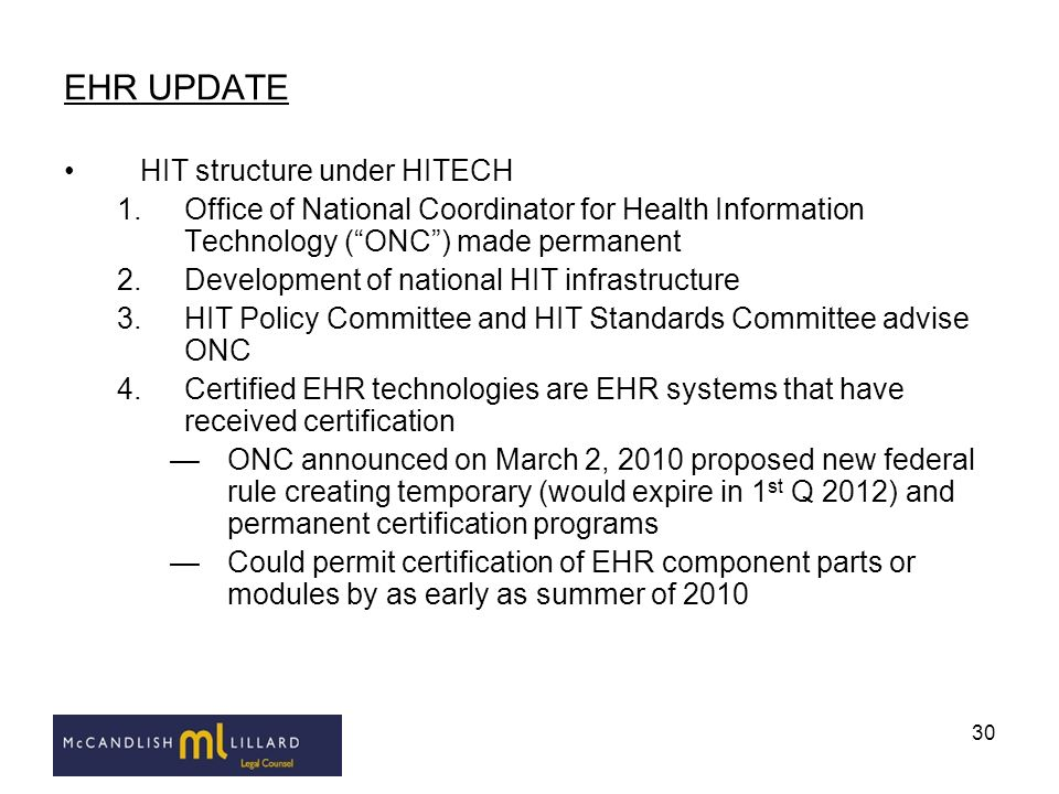 EHR UPDATE HIT structure under HITECH