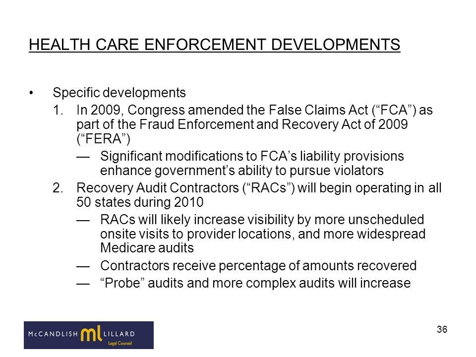 HEALTH CARE ENFORCEMENT DEVELOPMENTS