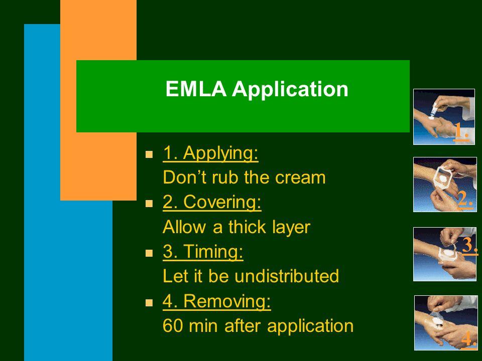 EMLA Application 1. 2. 3. 4. 1. Applying: Don't rub the cream