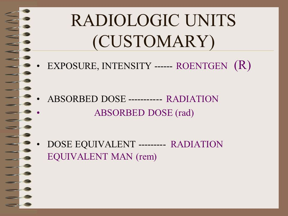 RADIOLOGIC UNITS (CUSTOMARY)
